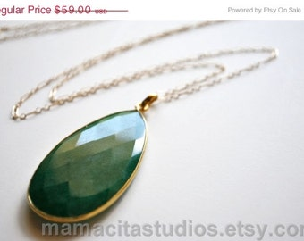 SALE Emerald Necklace - May Birthstone Necklace -  Emerald Jewelry