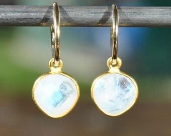 SALE Rainbow Moonstone Earrings - June Birthstone Jewelry - Birthstone Earrings - Rainbow Moonstone Jewelry