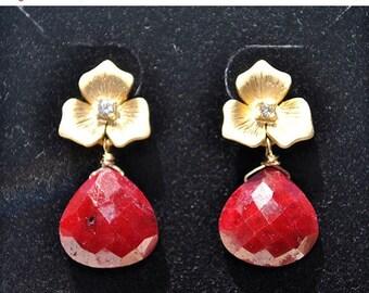 SALE Genuine Ruby Earrings - July Birthstone Earrings - Ruby Jewelry