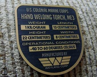 ALIENS ME3 HAND WELDER Data Plate Prop