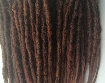 CUSTOM medium crochet synthetic dreadlock extensions - natural look, double ended, 20 pieces.