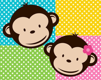 Girl and Boy Mod Monkey clipart  and Backgrounds for Personal Use ONLY 11x14 in. 300 dpi PNG instant download