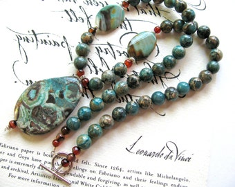 Beaded necklace, Imperial Jasper pendant with Impression Jasper and Agate - 404