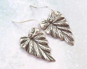 Silver Leaf Earrings, Dangle Earrings, Silver Earrings, sterling silver, oxidized, fashion, bridal, weddings