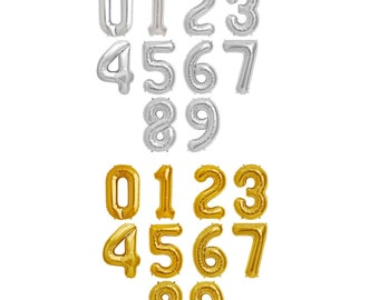 "Number Balloons 16"" Foil Mylar Gold, Silver, Blue or Pink Number Balloons Best Quality Balloons / Birthday, Engagement, Weddings  Ampersand"