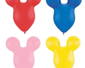 """Mickey Mouse Ears 15"""" Latex Balloons  """"Pick your Color"""" Red, Yellow, Blue or Pink / Mickey Mouse Party Mousehead Balloons"""