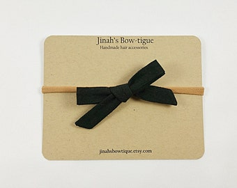Black Linen Hand Tied Petite School Girl Bow You Choose Clip or Nylon Headband