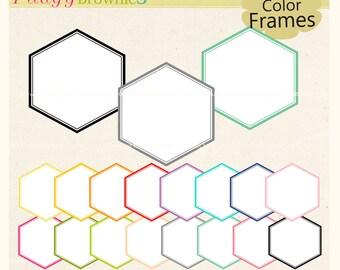 ON SALE Digital frame, hexagon frames , instant download, white background frame, digital scrapbooking frames, pink, red A-183