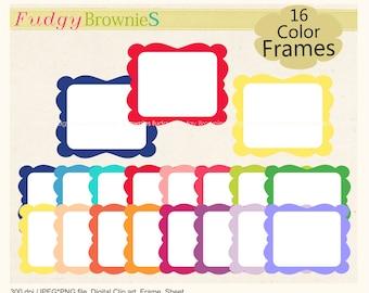 ON SALE clipart frames, colorful doodle digital clip art frames, digital frames .A-204