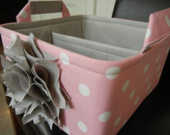 "LG Flower Diaper Caddy(choose COLORS)10""x10""x6"" One Divider-Baby Gift-Fabric Storage Organizer""Light Grey Flower on Pink"""