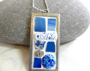 Mosaic Pendant - Ocean Blue Jewelry Necklace - Stained Glass - Beads
