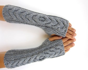 gray cabled handknit arm warmers long wrist warmers hand knit mittens fingerless gloves merino wool