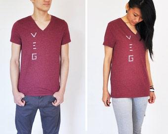 Veg / Vegan Shirt: Unisex V-Neck Maroon Shirt (Size S / M )