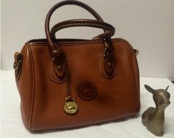 Vintage Mini Dooney Bourke Doctor Bag Leather Brown Peanut Butter Orangey Brown Tan Mini Doctor Dooney