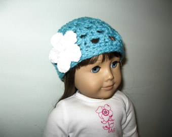 Fitted hat - Turquoise with White flower - for American Girl Dolls and other 18 Inch dolls