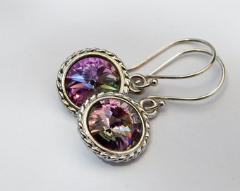 Vitrail Light Swarovski Crystal Rivoli Sterling Silver Dangle Earrings