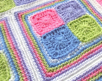 Crochet Pattern - Bonny Baby Blocks Blanket - PDF Baby Blanket Crochet Pattern