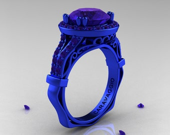 Exclusive Caravaggio 14K Blue Gold 3.0 Ct Blue Sapphire Engagement Ring, Wedding Ring R620-14KBGBS