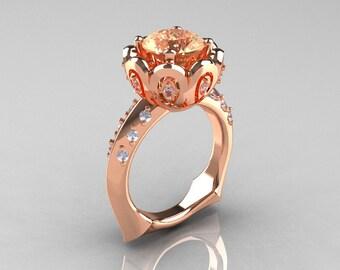 Classic 14K Rose Gold 3.0 Carat Champagne and White Diamond Greek Galatea Bridal Wedding Ring AR114-14KRGDCHD