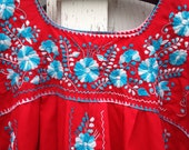 Vintage Red Embroidered Mexican Dress