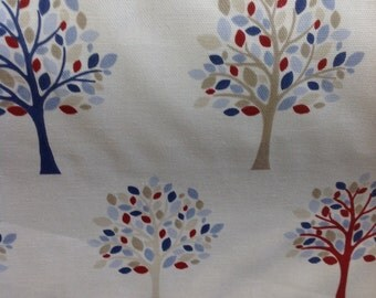 Fryetts 100% cotton fabric orchard in blue by the half metre