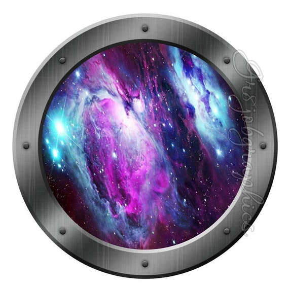 galaxy porthole wall decal spaceship graphics decals kids fun