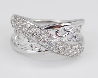 Diamond Ring Wedding Ring Anniversary Band 14K White Gold Crossover Ring Size 7