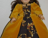 Gold velveteen and black gown for 18 inch doll