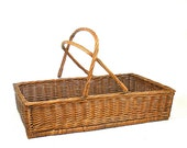 Vintage Woven Wicker Basket with Bail Handles