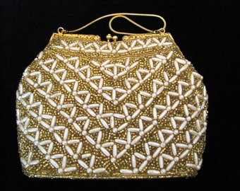 Vintage Beaded Purse - Evening bag - Clutch - Handmade in Hong Kong