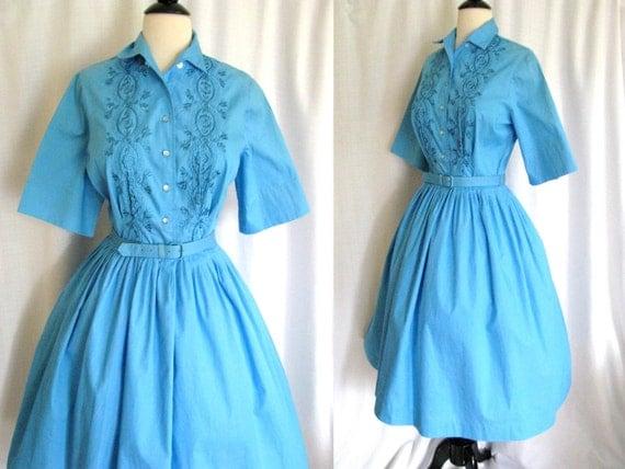 True Vintage 1950s Dress Sears Blue Shirt Dress By