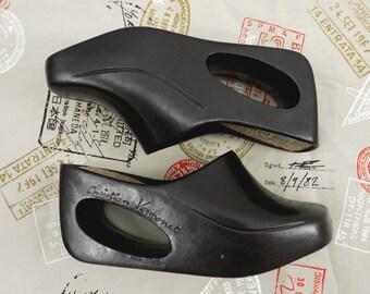 Designer Vintage The Habit by Christian Vermonet Rubber Cutout Wedge Shoes Women's US 6 / EU 37