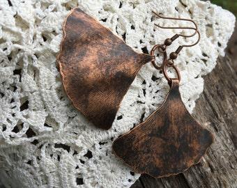 Copper Ginko leaf Earrings