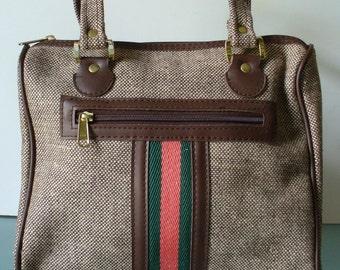 Vintage Tweed Tote Travel Bag