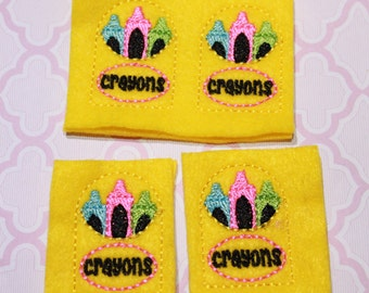 Neon crayons in yellow crayon box felties, set of 4 for hair accessories, scrap booking or crafts