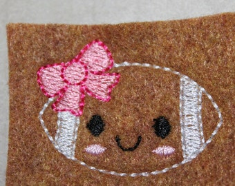 Brown football girl with bow feltie, girly football with pink bow, for hair accessories, scrap booking or crafts