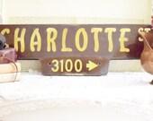 Vintage Street Sign Industrial Salvaged Street Sign - Charlotte Street - Industrial Chic - SALE WAS 110.00