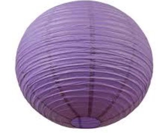 12 Inch Purple Round Paper Lantern -  Wedding Party Decorations with LED light