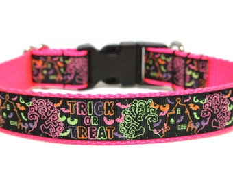 "Halloween Dog Collar 1"" Neon Dog Collar SIZE LARGE"