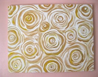 Golden Roses - Original Abstract Acrylic painting - 16x20 gold white Stretched canvas
