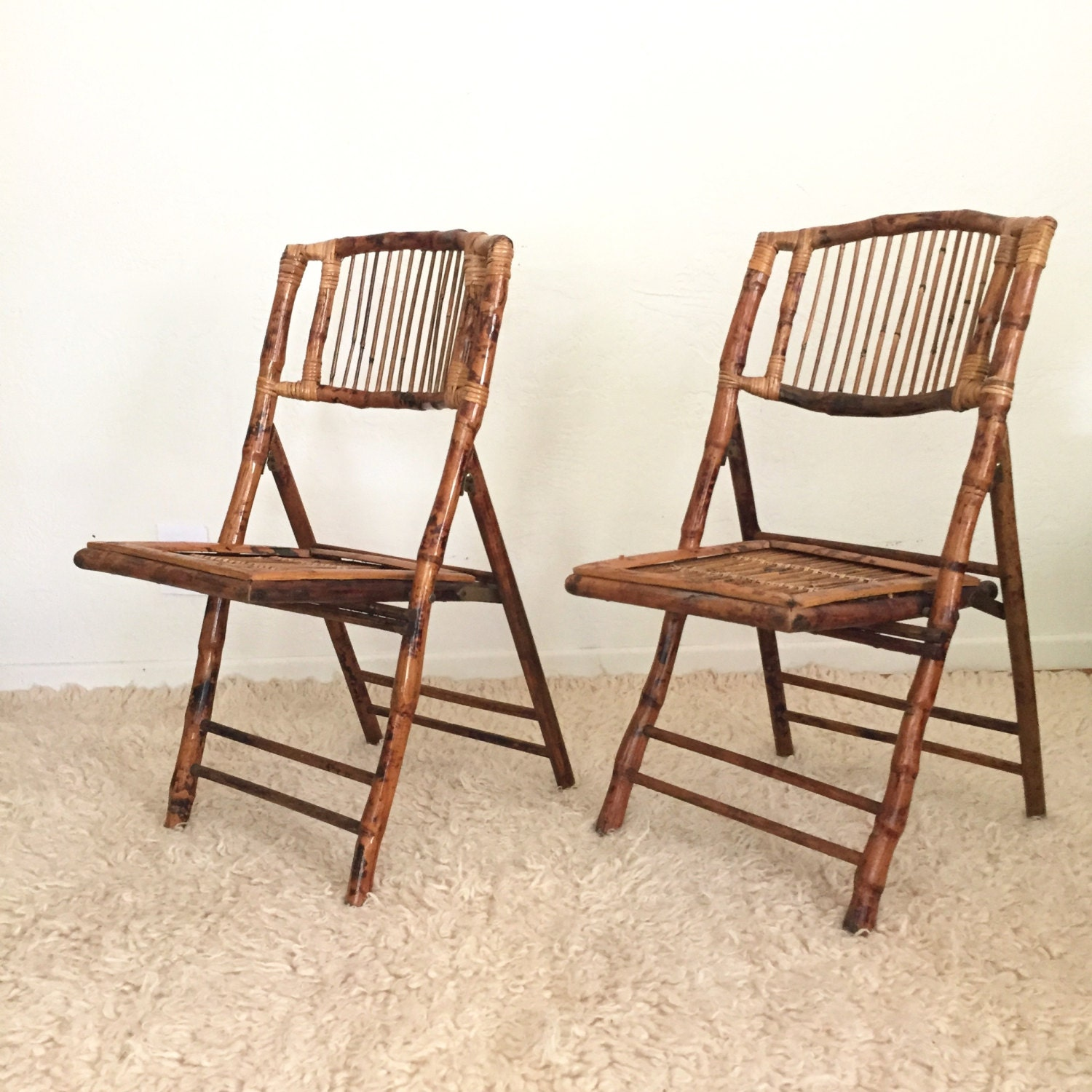 Bamboo Rattan Folding Chairs Set of 2 Rustic by GoldDustGoods