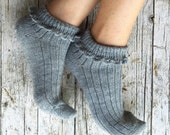 Wool summer socks, embellished with an elegant crochet bordure