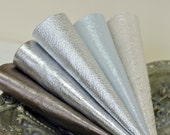 5pcs  Scrap Leather Pieces , Mixed Metallic Silver Colors