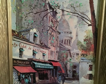 "Midcentury Paris Street Scene - 8"" x 10"" - Au Cadet de Gascogne in Montmartre"