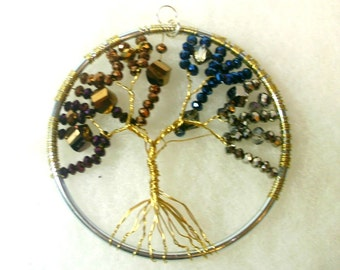Beaded Tree of Life Sun Catcher -  Metallic Glass Beads in 4 Colors on Copper Tree - OOAK 1558