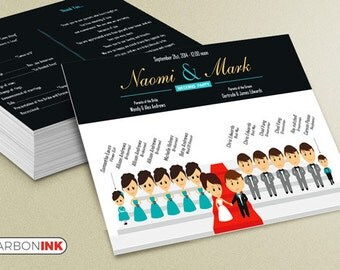 Printable Wedding Program - Custom Ceremony Program - Silhouette Wedding Program - wedding ceremony program