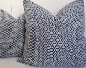Blue pillow cover, 18x18 Blue pillow, Navy blue pillow, White blue pillow, Pillow cover