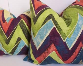 Chevron Pillow Cover,18x18, 20x20, 16x16, Green Pillow, Zig Zag Pillow, Pillow Cover, Lime Green Pillow, Orange Pillow, Purple Pillow