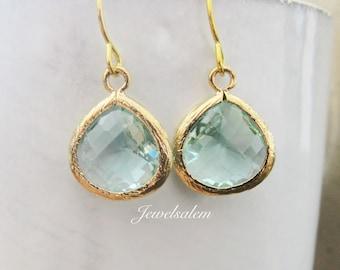 Mint Green Earrings Mint Earrings Gold Bridal Earrings Wedding Jewelry Bridesmaid Gift Dangle Earrings Teardrop Earrings Modern Chic Elegant