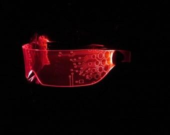 The Original Illuminated Cyber goth visor V1 red circuit hex